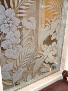 glass shower panels glass etching tropical design flowery pattern hibiscus beauty sans soucie