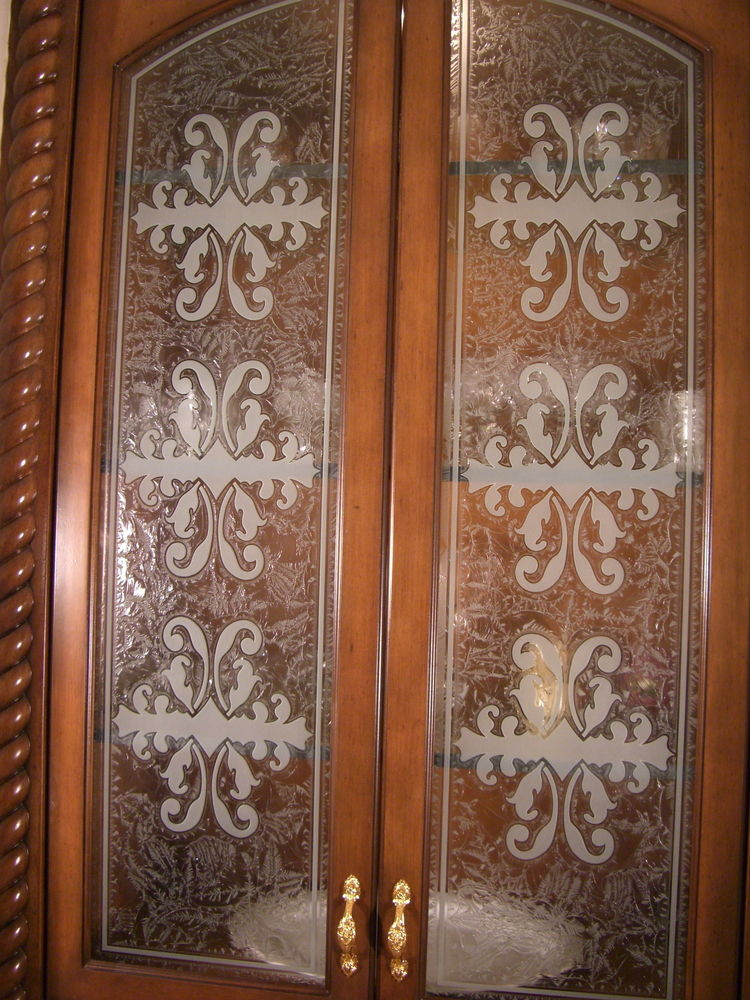 Cabinet Door Inserts with Etched Glass Victorian by Sans Soucie