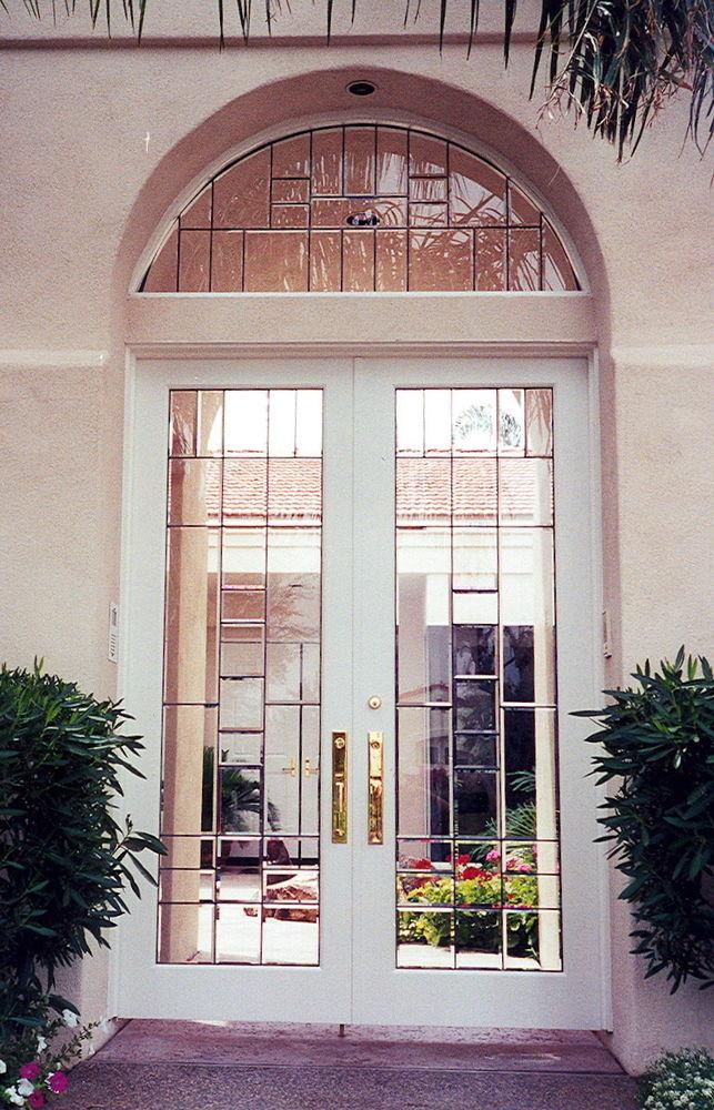 beveled glass door window rectangle patterns
