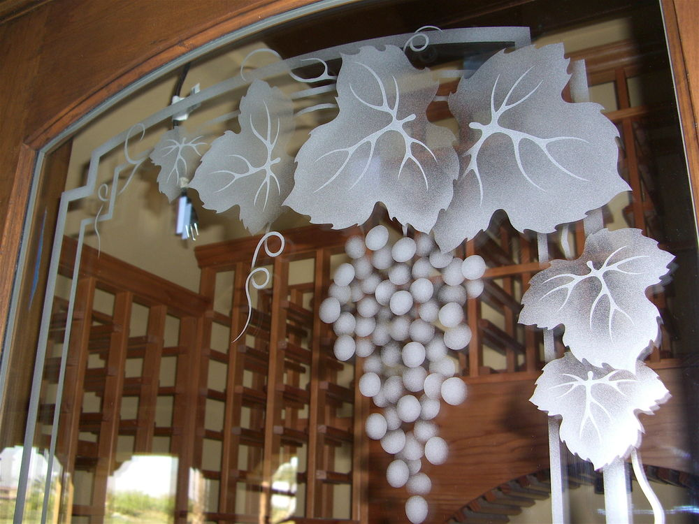 Wine Cellar Door Glass Etched Frosted By Sans Soucie Art Glass Studios