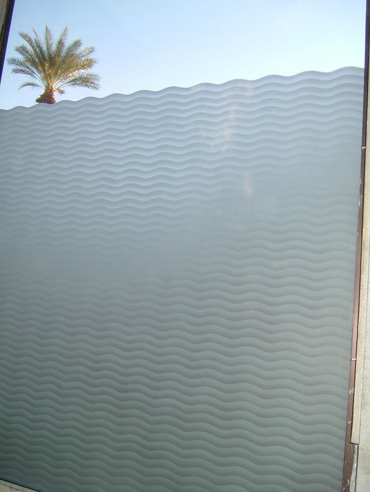Wave Pattern Glass Window Etched Glass Moroccan Design