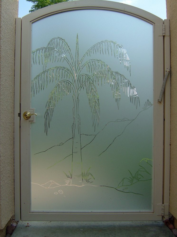 Queen palm design decorative etched glass gate glass