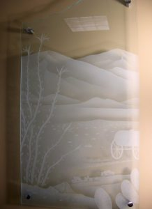 Sans Soucie Glass Wall Art with Craved Glass Etching
