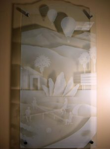 Sans Soucie Glass Wall Art with Glass Etching Carved