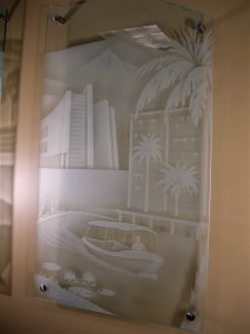 Glass Wall Art with Glass Etching Carved boat by Sans Soucie