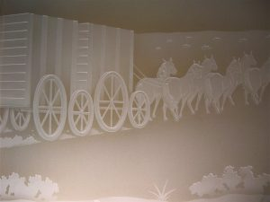 Glass Wall Art with Glass Etching Carved horses by Sans Soucie