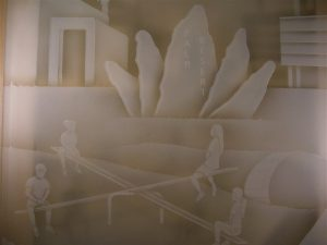 Glass Wall Art with Glass Etching Carved by Sans Soucie