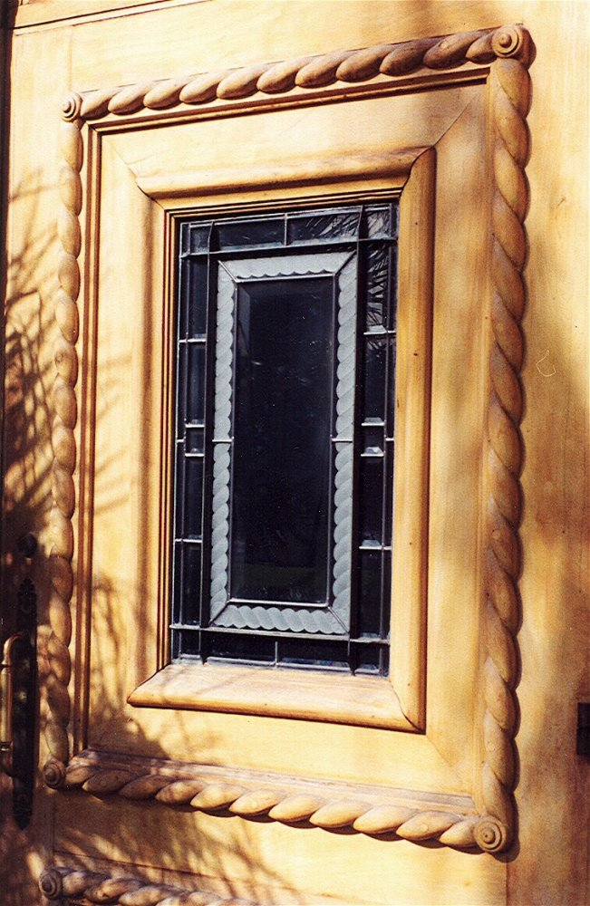 Front Door Window with Carved Etched and Stained Glass by Sans Soucie