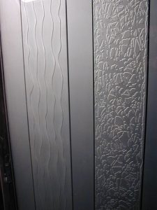Frameless Glass Doors Frosted 3D Carved Glass Raiders by Sans Soucie