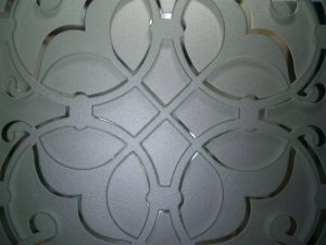 Sans Soucie Door Insert Panels with Carved and Etched Glass