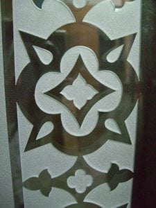 Sans Soucie Pantry Door Inserts with Carved and Etched Glass Border