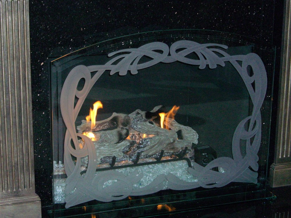 Fireplace Screen with Carved and Etched Glass ribbons by Sans Soucie