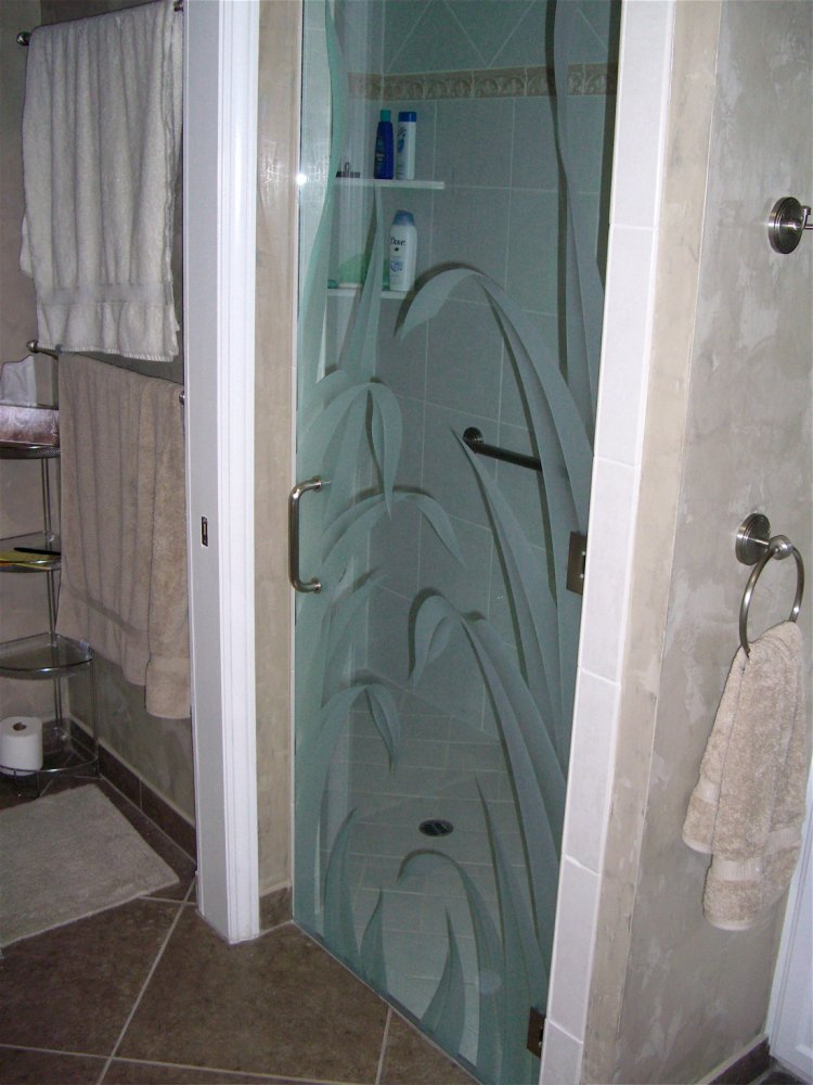 Reeds Iv Glass Shower Doors Etched Glass Tropical Decor
