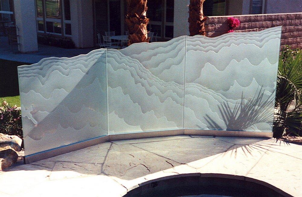 Outdoor Glass Partition Decorative Glass Wind Panels Etched Sans Soucie