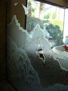 glass shower panels custom glass rustic design outdoors mountains rugged retreat sans soucie