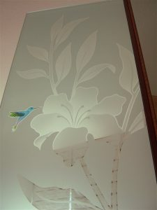 glass shower panels frosted glass English country decor foliage plants hibiscus & hummingbirds sans soucie