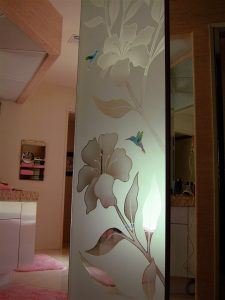 glass shower panels custom glass English country decor birds in flight hibiscus & hummingbirds sans soucie