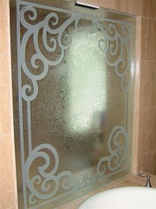 glass shower panels frosted glass Tuscan style ornate flourishes concorde elegance sans soucie