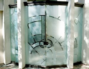 Frameless Glass Pair Doors with Carved and Gluechipped Glass Etching Modern Contemporary matrix by Sans Soucie