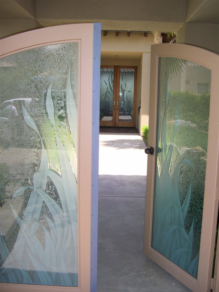 Gate Door Insert Panels with Glass Carving and Gluechipped reeds by Sans Soucie