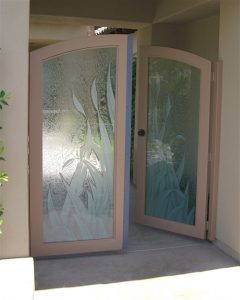 Sans Soucie Gate Door Insert Panels with Glass Carving and Gluechipped reeds
