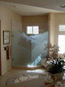 frameless glass shower doors glass etching rustic style hills desert rugged retreat lll sans soucie