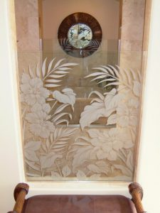 glass shower panels frosted glass tropical design foliage plants hibiscus beauty sans soucie