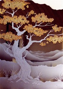 Decorative Mirrors Painted and Carved bonsai by Sans Soucie