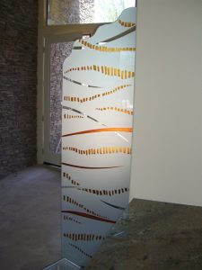 Partitions Freestanding with Etched Carved and Painted Glass Modern by Sans Soucie
