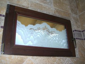 glass window frosted glass rustic design mountains outdoors rugged retreat shower sans soucie