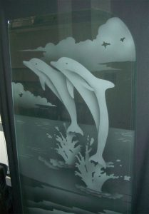 glass shower enclosures custom glass beach style mammals jumping ocean dolphins leaping sans soucie