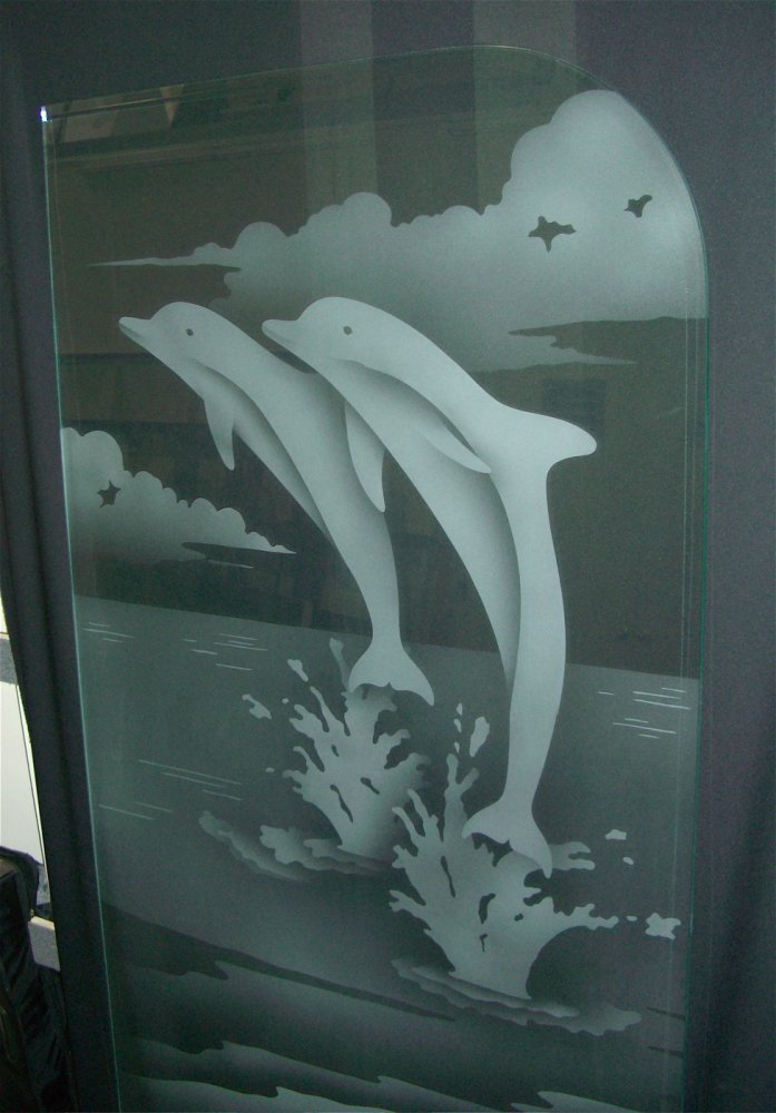 Dolphins Leaping 2d Etched Glass Shower Panel