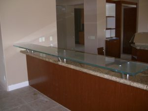 Bar Top Floating with Gluechipped Textured Glass by Sans Soucie