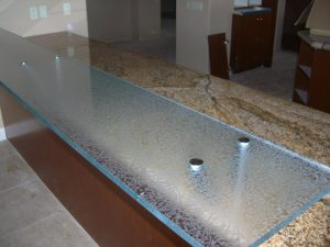 Floating Bar Top with Gluechipped Textured Glass by Sans Soucie