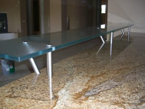 Sans Soucie Floating Bar Top with Gluechipped Textured Glass