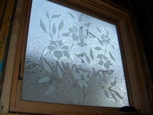 glass window glass etching tropical style flowery patterns hibiscus beauty sans soucie