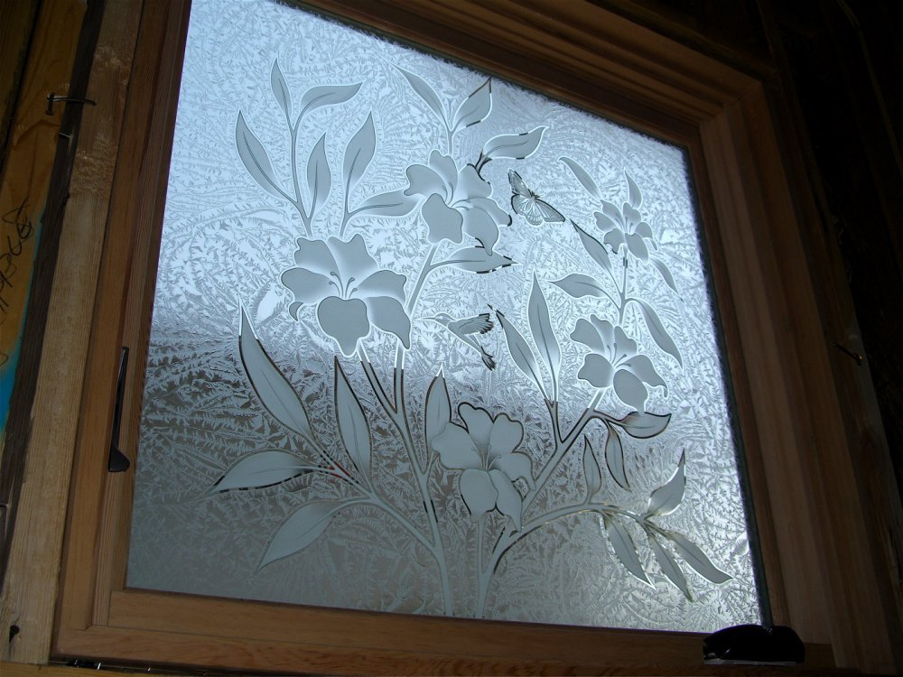 hibiscus beauty glass window etched glass tropical style