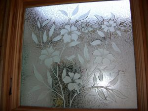 glass window frosted glass tropical style nature foliage hibiscus beauty sans soucie