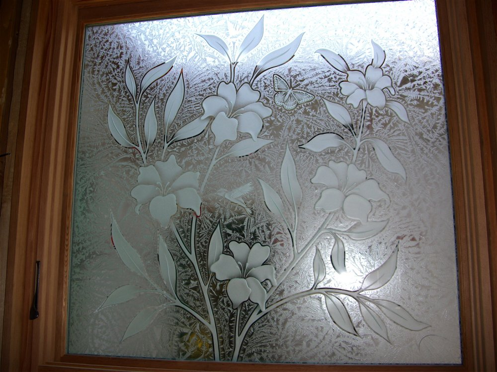 Hibiscus beauty glass window etched glass tropical style for House window glass design