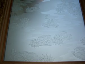 glass window frosted glass English country style flowery patterns lilly pads & lotus sans soucie