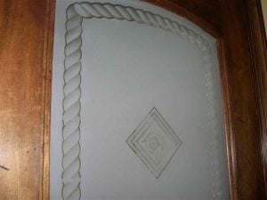 Pantry Door with Etched Glass Tile Pattern rope border by Sans Soucie