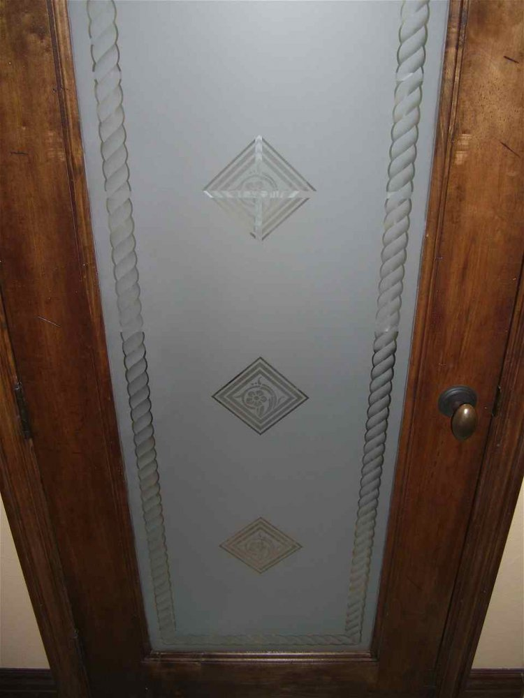 Pantry Door with Etched Glass Tile Pattern by Sans Soucie