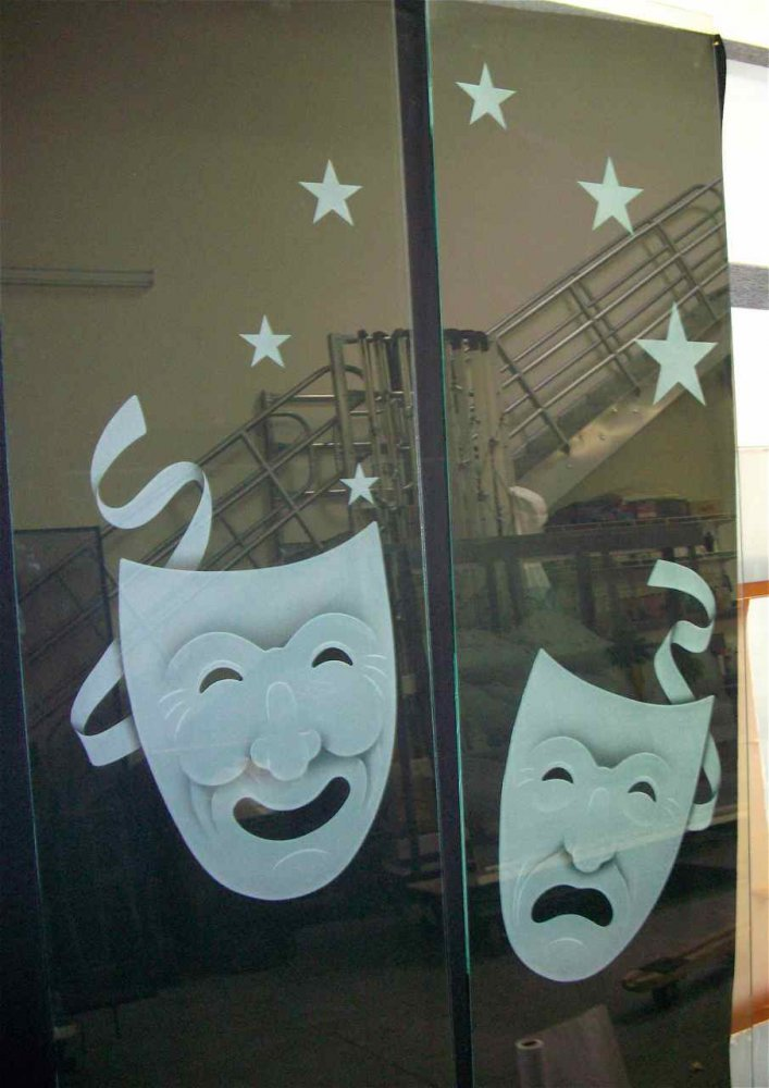 Interior Theaters Insert Panels with Etching Happy and Sad by Sans Soucie