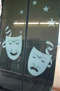 Interior Theaters Insert Panels with Etching Happy and Sad stars by Sans Soucie