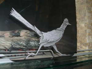 Sans Soucie Fireplace Screen with Carved and Etched Glass roadrunner