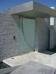 Sans Soucie Entry Gate Frameless Etched Glass Modern