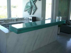 Sans Soucie Bar Top Carved Glass and Chiseled Edges Beach Coastal