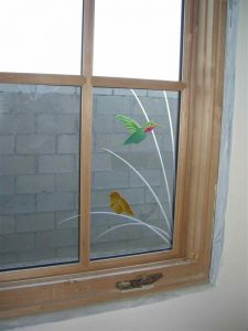 glass window custom glass wildlife style birds branches pretty & perched sans soucie