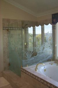 glass shower doors etching glass rustic decor landscape plants flowing stream sans soucie