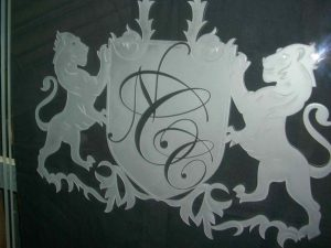 custom showers frosted glass ncc family crest lions sans soucie